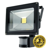 LED reflektor Solight 20W, studená bílá, 1600lm, se senzorem - černý