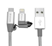Kabel Verbatim USB/micro USB + lightning, 1m - stříbrný