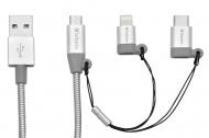 Kabel Verbatim USB/micro USB + USB-C + Lightning, 1m - stříbrný