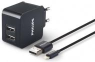 Nabíječka do sítě Philips 2x USB, 3,1A + Lightning kabel 1m - černá