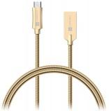 Kabel Connect IT Wirez Steel Knight USB/micro USB, ocelový, opletený, 1m - zlatý