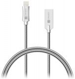 Kabel Connect IT Wirez Steel Knight USB/Lightning, ocelový, opletený, 1m - stříbrný